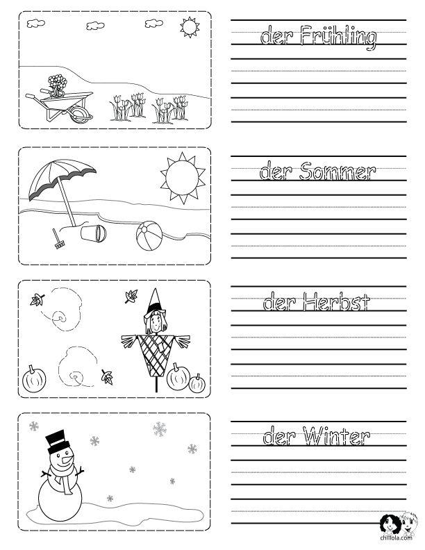 Spring Printouts German ~ German for Kids ~ www.chillola.com