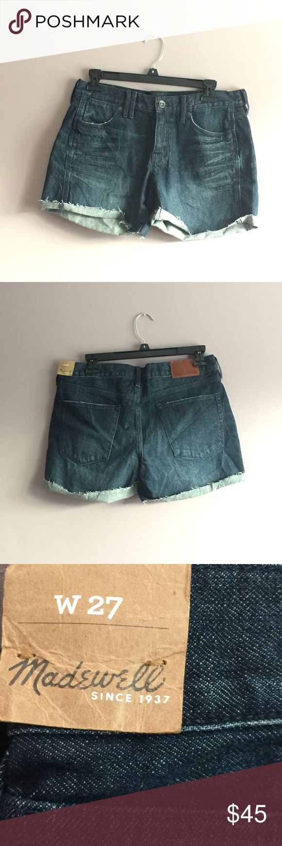 PRICE DROP NWT Madewell Women's Blue Jean Shorts High quality Madewell Jean Shorts with a dark wash that will last for years! These shorts are 100% cotton with a height of 14 inches, width of 18 inches and the zipper zips down 3 inches. These shorts have never been worn before and still include their original tags. They fit looser than a regular 4 and more closely resemble a size 6. Madewell Jeans
