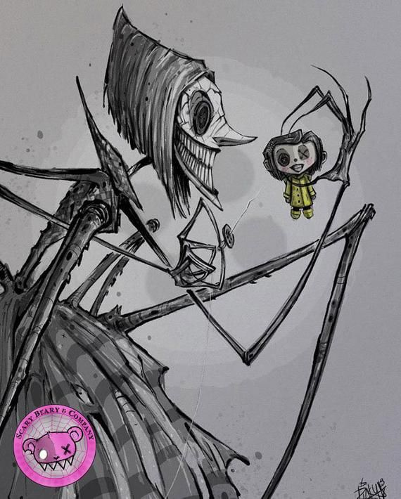 The Other Mother Aka The Beldamn This Is An 8 5 X 11 Inch Print Of An Original Digital Illustration By Ricky Rom Scary Drawings Tim Burton Art Scary Art