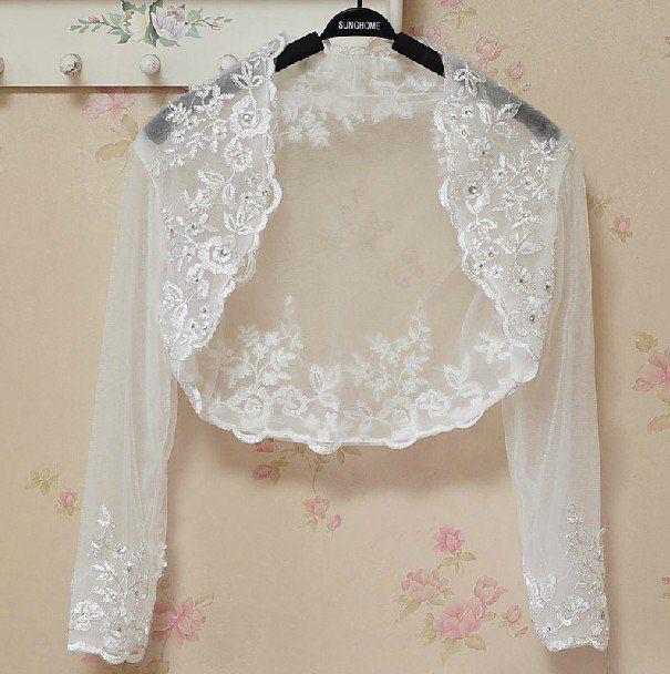 Bridal Vest 3/4 Sleeves Silver Lace Apliques white ivory Beads Stock Wedding Bolero Jacket RJ4