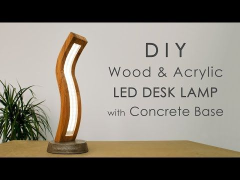 Wood And BaseDiy Acrylic Lamp With Curved Led Concrete QtdCshrx