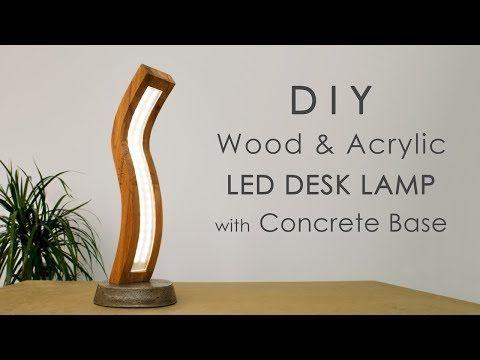 Concrete Lamp Acrylic Led Curved With Wood And BaseDiy JKl1Fc