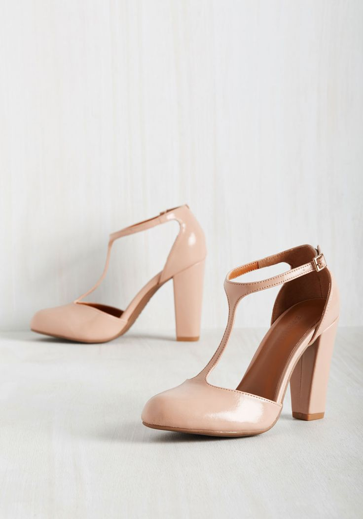 Kicks or It Didn't Happen T-Strap Heel. Your tales of a thrilling evening on the town are perfectly bolstered by snapshots of you in these blush heels. #blush #wedding #bridesmaid #modcloth
