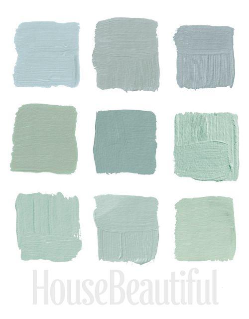 Top Row, 1-Pratt & Lambert's Argent 1322, 2-Farrow & Ball's Light Blue 22, 3- Farrow & Ball's Green Blue 84  Middle Row, 1- Benjamin Moore's Cedar Grove 444, 2-Ralph Lauren Paint's Blue-Green GH81, 3-Benjamin Moore's Colony Green  Bottom Row, 1-Benjamin Moore's Heavenly Blue, 2-Benjamin Moore's Palladian Blue HC-144, 3-Benjamin Moore's Sage Tint 458