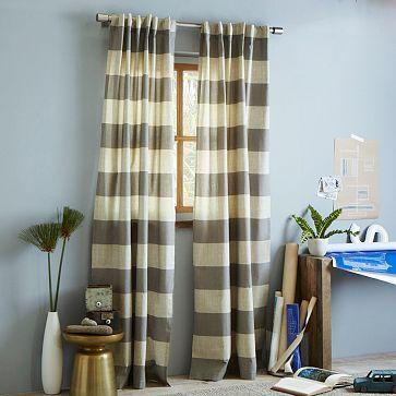Cotton Canvas Bold Stripe Curtain U2013 Plaster. West Elm