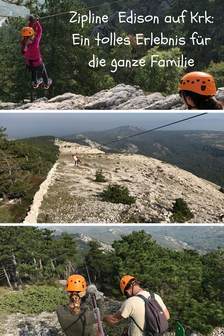 Zipline Edison auf Krk ist einer der tollsten Adrenalinkicks der kroatischen Insel: Es ist 10 Uhr morgens und strahlend blauer Himmel als unser Ausflug mit Kind beginnt. Nach der präzisen Einweisung starten wir mit einer 600 Meter langen Zipline-Fahrt, die knapp eine Minute dauert. Bereits die zweite und mit 700 Meter auch längste meistert unsere neunjährige Emmy alleine - wie auch die weiteren sechs! Wir sliden zum Camp und haben Top-Ausblicke auf Baska, Krk-Stadt und die Kvarner Bucht.