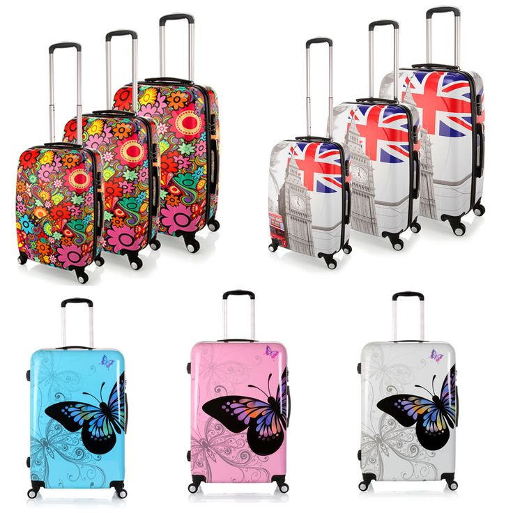 """20""""- 28"""" Luggage Travel Suitcase Flower/Butterfly Case Wheels Rolling PC Trolley"""
