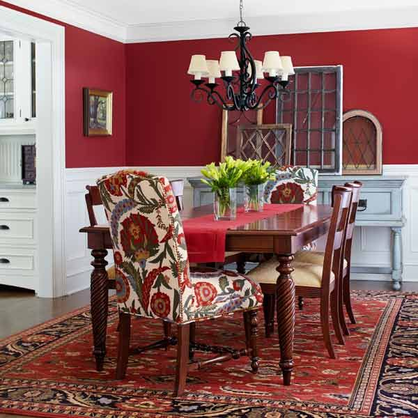 A neocolonial room by room revival window house and chairs for Red dining room decorating ideas