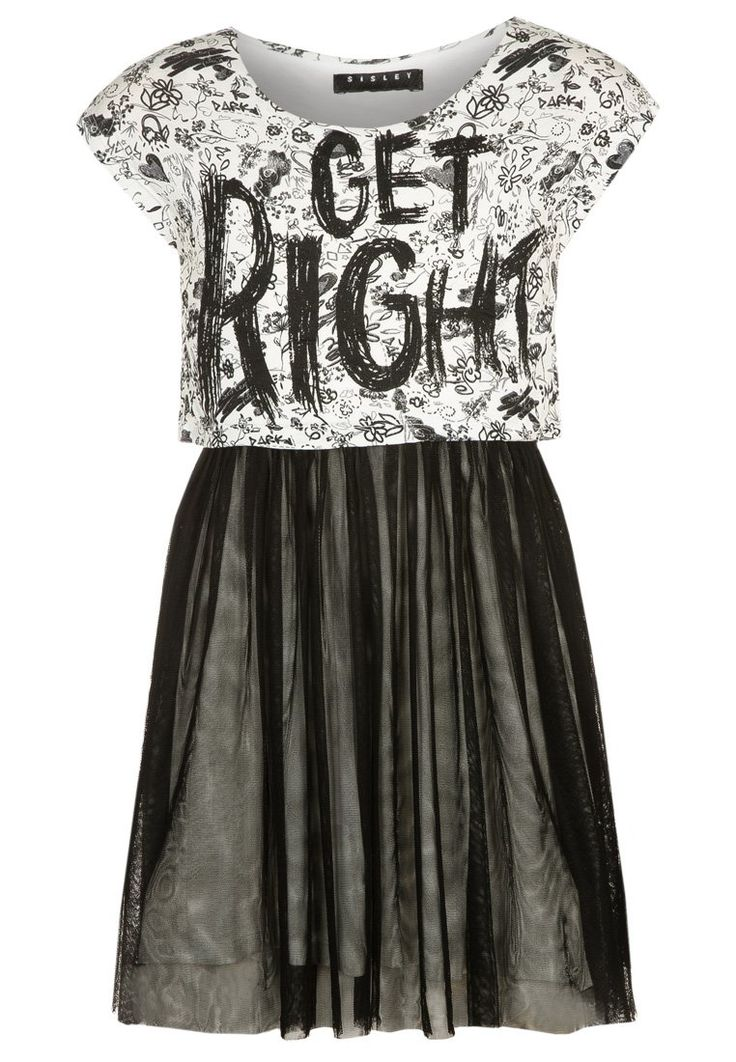 Sisley - Vestito di maglina - white/black