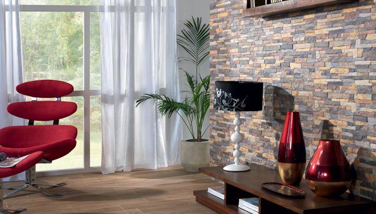 Dise o de paredes decorativas en piezas cer mica imitaci n piedra pizarra multicolor dise os - Diseno de interiores paredes ...