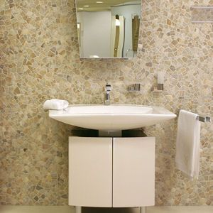 Glazed Mixed Quartz Wall Tile In Bathroom