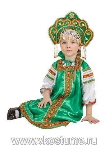Атласный зеленый костюм Аленушка на Вкостюме.Ру. Купить Атласный зеленый костюм Аленушка в Москве с доставкой по России