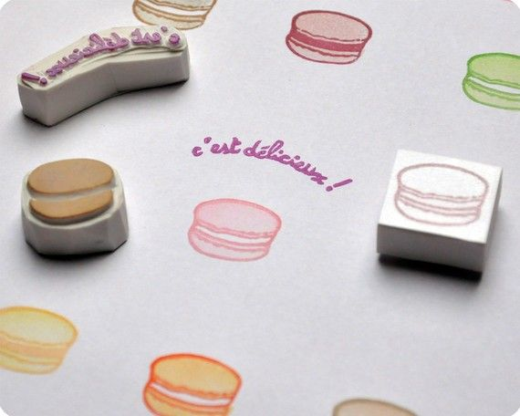 Parisian lifestyle stamp. Macarons hand carved by MemiTheRainbow