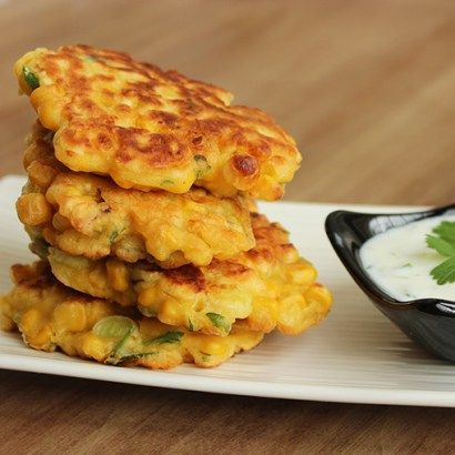Awesome vegetarian Sweetcorn Fritters inspired by one of Chef Ramsay most popular recipes, are perfect for a quick lunch/dinner or party snack.