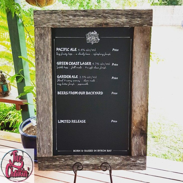 1 of 8 Beer menu chalkboards for Stone & Wood Brewing Co.