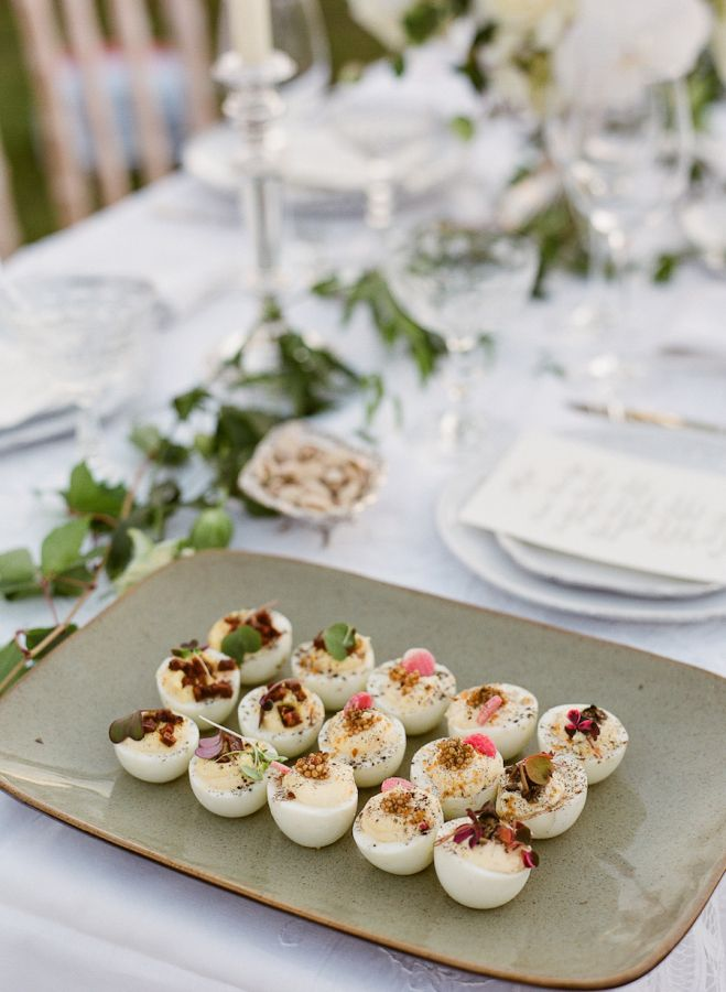 Deviled eggs: http://www.stylemepretty.com/2016/05/17/how-to-pull-off-a-white-on-white-celebration/ | Photography: Lucy Cuneo - http://www.lucycuneophotography.com/