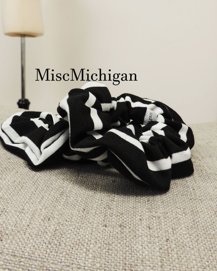 Black Scrunchie, striped Scrunchie, Scrunchies, Pony Tail Tie, Hair Accessory, Pony Tail Holder by miscMichigan on Etsy https://www.etsy.com/listing/590324879/black-scrunchie-striped-scrunchie
