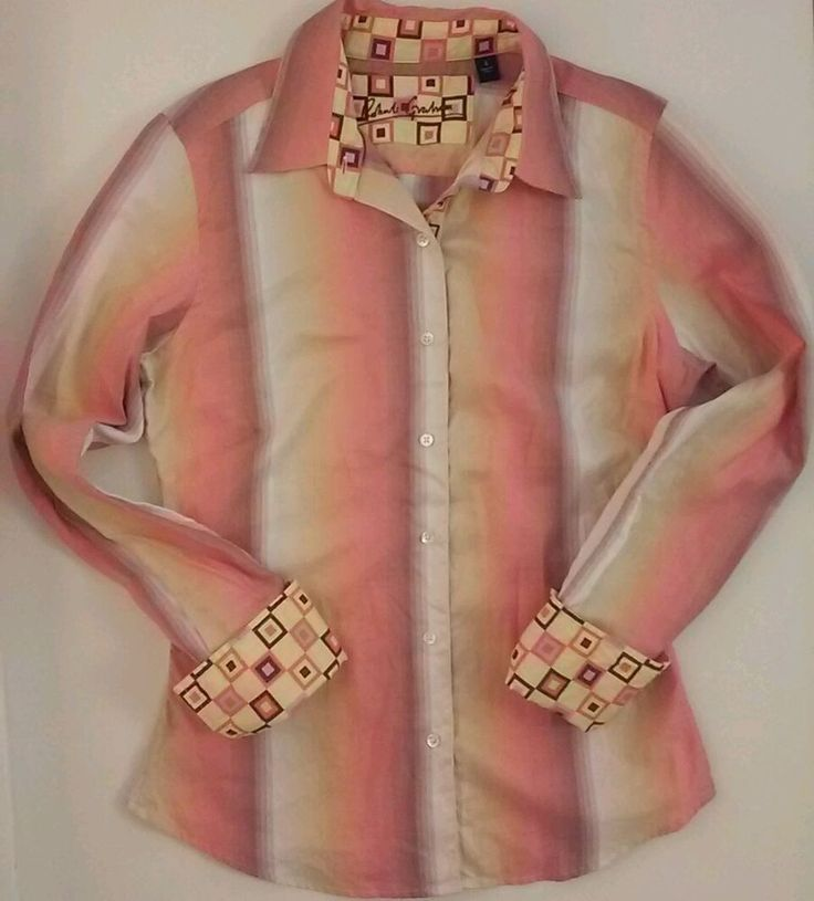 ROBERT GRAHAM Shirt Long Sleeve Button Down Blouse Pink Peach Stripe Size 4 | Clothing, Shoes & Accessories, Women's Clothing, Tops & Blouses | eBay!