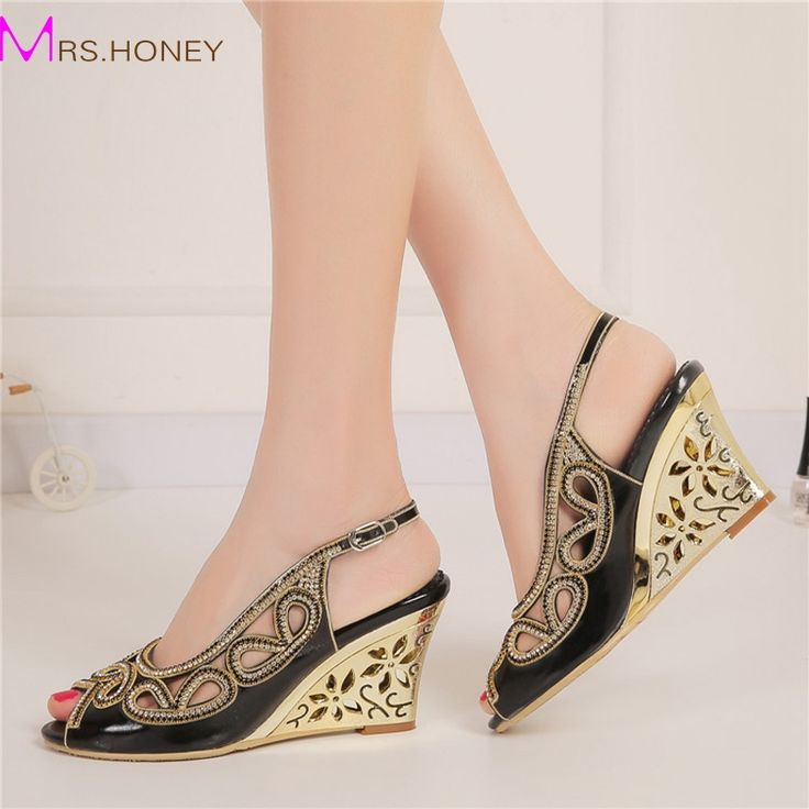 2016 Sexy Summer Sandals Black Color Bridesmaid Shoes Peep Toe Women Dress Shoes Rhinestone Wedding Party Prom Shoes Wedge Heels
