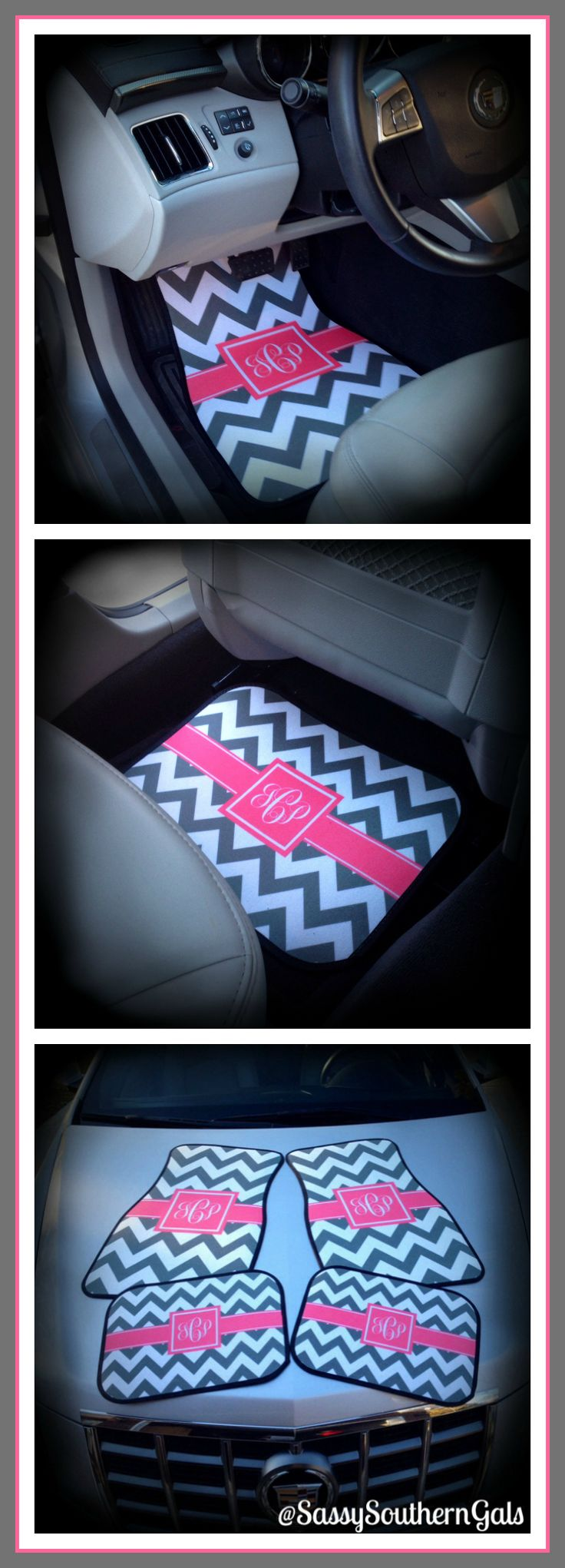 Gone too far: Preppy monogrammed floor mats. Excuse me while I wrech.