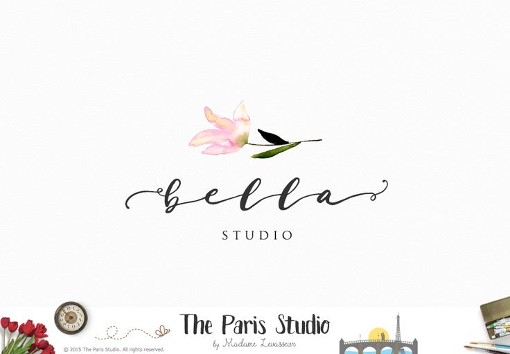 Hand Drawn Floral Logo Design - website logo, blog logo, boutique logo, creative business