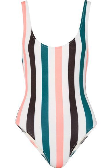 Solid & Striped's 'The Anne-Marie' swimsuit has graphic stripes that streamline and elongate your frame. Made from sculpting Italian fabric, the classic silhouette is updated with a deeply scooped back. Complete the look with a favorite pair of sunglasses.