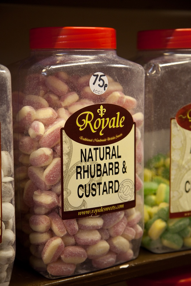 Rhubard and Custard? Yum...  Granny's sweet shop, Beaminster   photograph © natamagat.co.uk