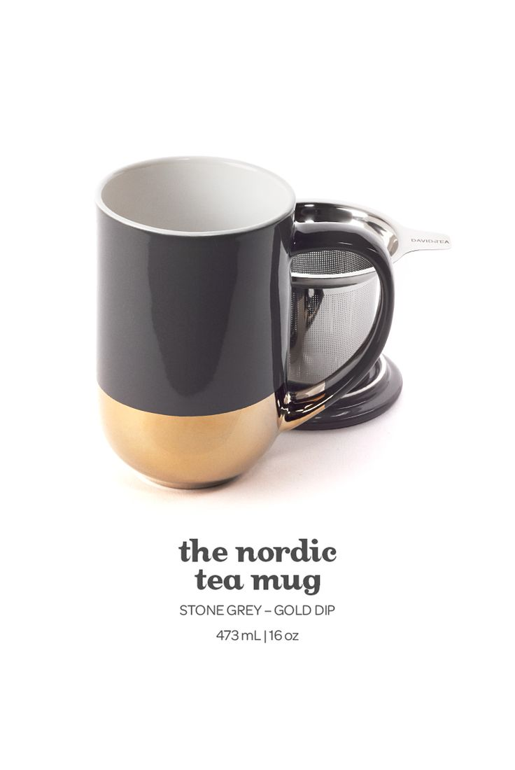 The Nordic Mug - Glam up your tea time with the elegant gold-dipped infuser mug.