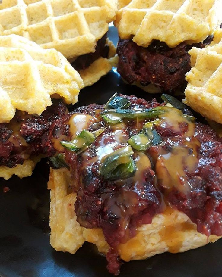 This is for a corporate event today in NYC  You can't beet this vurger, that's right, black bean and beet veggie burger with smoked poblano perpper and our yellow sauce on top. Oh, don't forget about the cheddar grits waffle buns... yum..  The grits or course polenta are from Zeng Family Farms Ringoes NJ @zengfarms  The bag of grits is sold at Brick Farm Market @brickfarmmarket Hopewell NJ .Check out the recipe for the patty and waffle on our website.  @farmandforknj…
