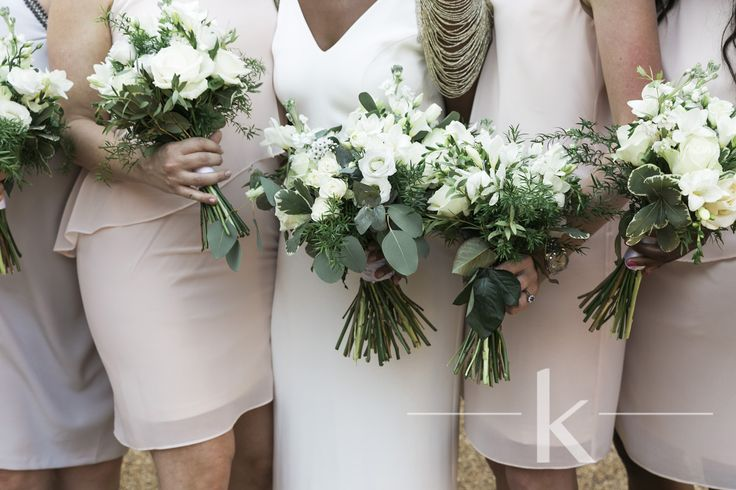Loose white and green bouquets