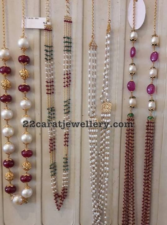 Simple Beads Sets in 18 Carat Gold