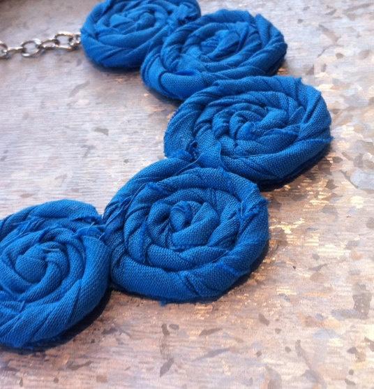 Scuba Blue Rosette Necklace  Summer Elegance by TheGentleFlower