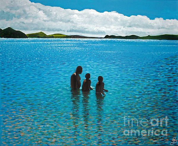 Three brave boys, a dad and his two sons taking a dip in the crystal clear water of Eastern Beach, Auckland, New Zealand on a sunny day in Autumn. This painting has been created from a picture quickly snapped on my phone while out for a walk along the beach.