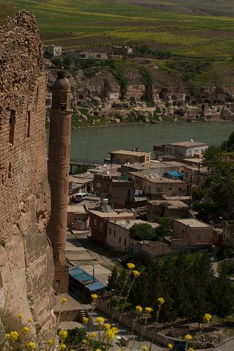View over the Tigris River and the minaret of the village of Hasan Kayf, Turkey