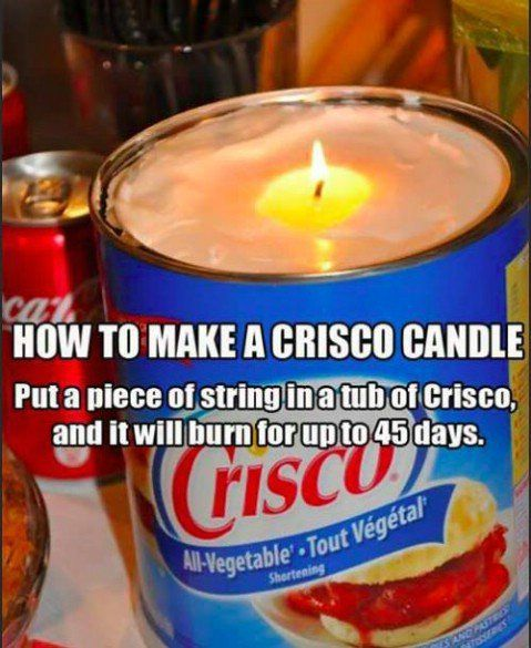 Crisco Candle for emergency situations. Simply put a piece of string in a tub of shortening, and it will burn for up to 45 days... - Top 68 Lifehacks and Clever Ideas that Will Make Your Life Easier