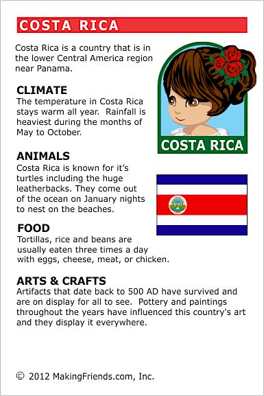 MakingFriends Facts about Costa Rica Printable Thinking Day fact card for our passports. Perfect if you chose Costa Rica for your Girl Scout Thinking Day or International Night celebration.