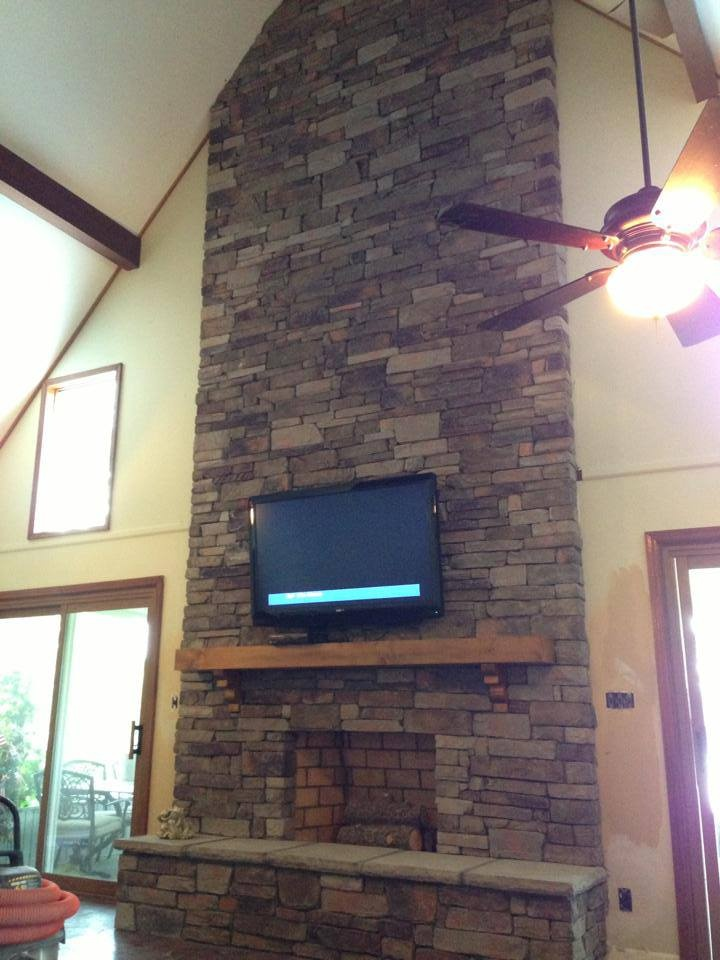 Tall Stone Fireplace Fireplace New Homes Home Decor