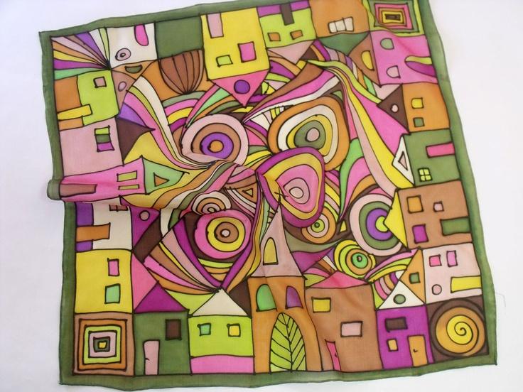 Hundertwasser inspired hand painted silk scarf