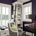 Purple makes this office fun to work in. Benjamin Moore Super Nova - a deep purple black, looks like a thunderstorm