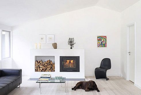 smaller fireplace/woodstove with wood storage by this_could_be_my_house, via Flickr