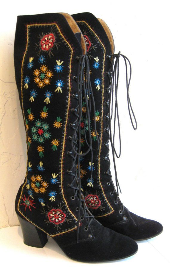 embroidered suede leather lace-up boots - vintage (they look 70's to me) folkloric cool