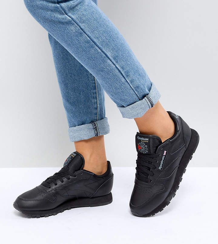 Reebok Classic leather sneakers in black leather | Кожаные