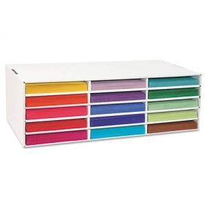 """Classroom Keepers® 9″x12″ Construction Paper Storage - 29.25"""" x 12.88"""" x 9.38"""" - White - 9.25"""" x 12.50"""" x 1.50"""" Slot Size"""