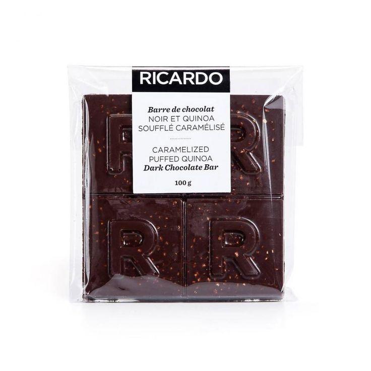 Grande barre de chocolat noir et quinoa soufflé caramélisé de 100 g 9.99 $