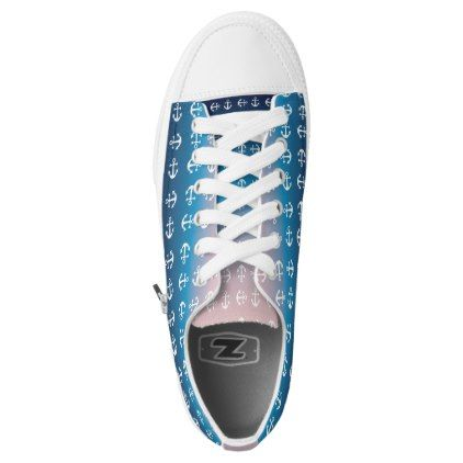 #Gradient blue pink | nautical anchor pattern Low-Top sneakers - #womens #shoes #womensshoes #custom #cool