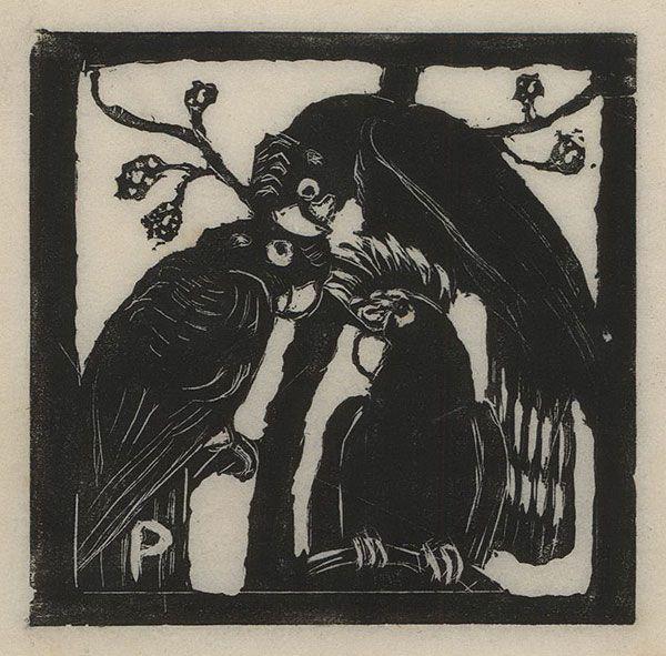 Margaret Preston, Cockatoos, c. 1925. Woodcut.