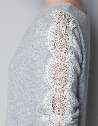 DIY Embellished Sweater Lace Sleeve