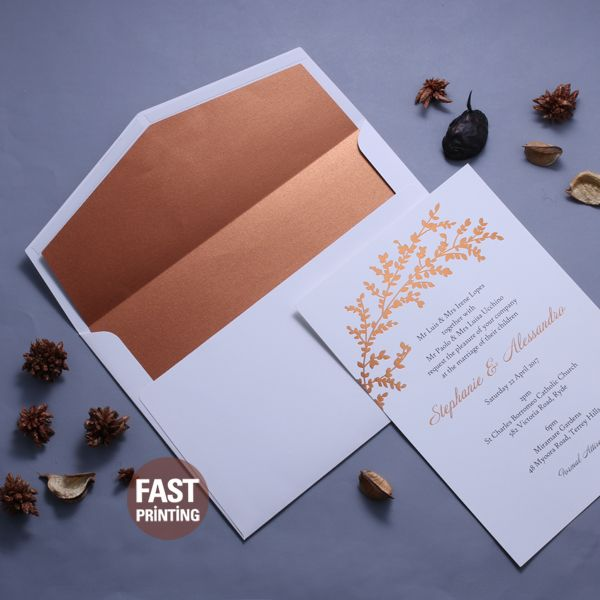 [ What's Popular ] Copper Foil Invitation x Copper Envelope Liner With Premium White Envelope / We Have Many Paper Options To Match With Your Invitation Concept Or We Can Print Your Own Design✌ #invitations #wedding #weddinginvitation #weddingstationery #savethedate #rsvp #weddinginvitations #stationery #weddinginspo #weddinginspiration #weddingideas #weddings #invites #bridetobe #fastprinting #surryhills #sydney #melbourne #newyork #london #packaging #package #packagingdesign…