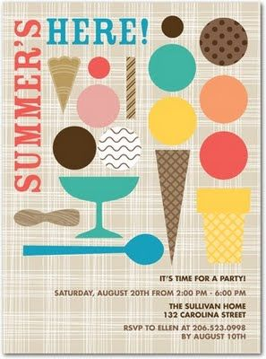 invite from Tiny Prints summer Ice cream sweet Popsicle party bike half birthday
