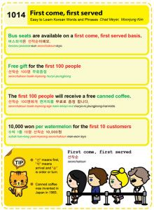 Easy to Learn Korean 1014 - Expressions: first come, first served.Chad MeyerMoon-Jung Kim EasytoLearnKorean.com An Illustrated Guide to Korean Copyright shared with the Korea Times.